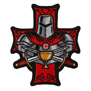 Embroidered-Templar-Holy-Grail-Christian-Red-Knight-Iron-on-Patch-Biker-Patch