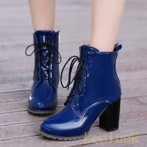 4d844feb57fcb Womens Lace Up High Block Heels Pumps Shiny Ankle Boots Shoes Plus ...
