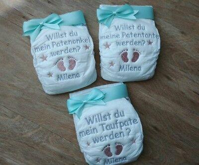 Bestickte Windel Patentante//Patenonkel mit Sternen alle Farben