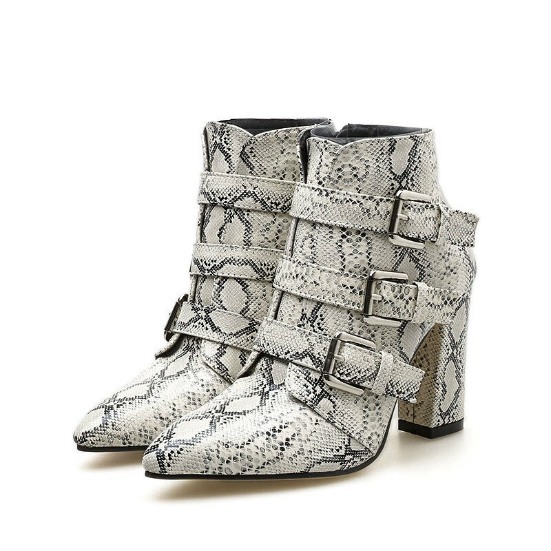 Womens Leopard Print Snake Skin Pattern Buckle Boots High Heels Pointed Toe C976