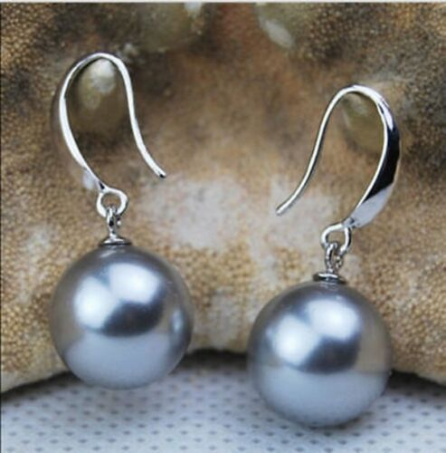 03 12 Mm Gray Round South Sea Shell Perle 14K Plaqué or Boucles d/'oreilles AAA