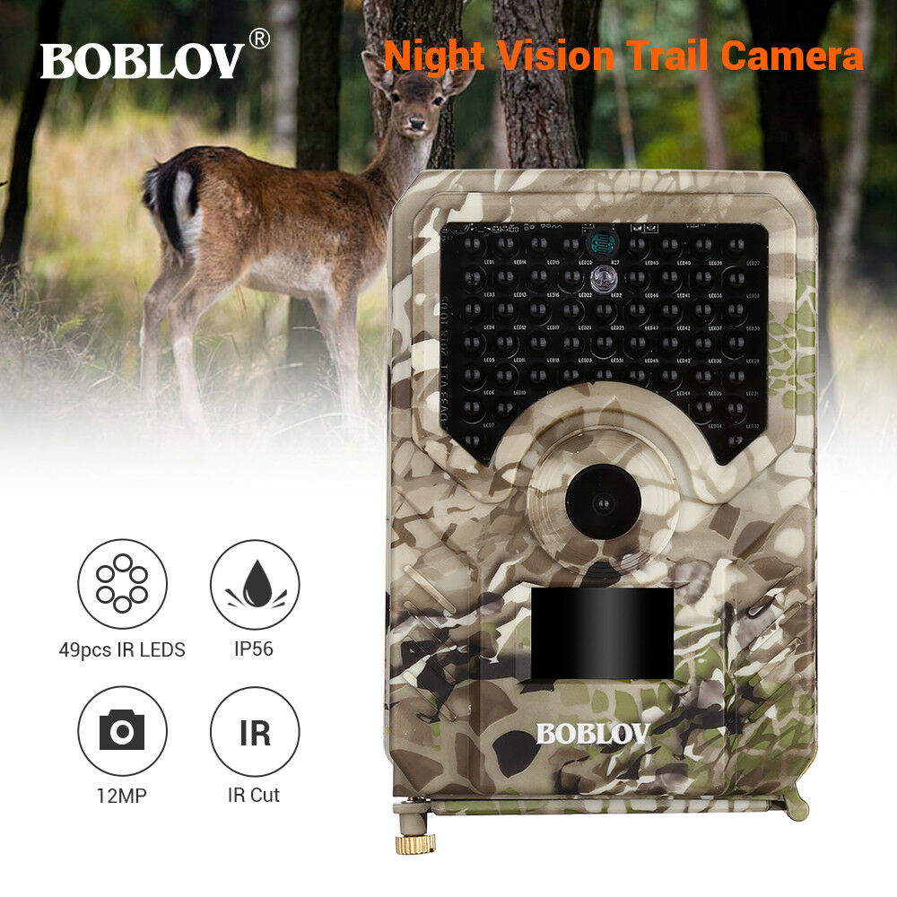 12MP Night Vision Hunting Camera 49Pcs IR Leds 940NM 1080P Wildlife Trail Camera
