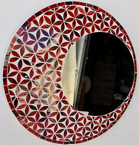 Mirror-in-Sun-Flower-Mosaic-Glass-50-cm-Color-Red