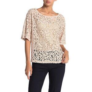 Pleione-Womens-Tan-Lace-Scoop-Neck-Top-Oversize-Blouse-Sheer-Short-Sleeve-Sz-XS