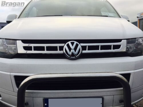 To Fit 2010-2015 VW Transporter T5 Caravelle Chrome Upper Front Grille Trim Set