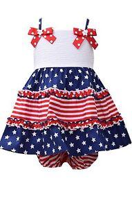 NEW Bonnie Jean 4th of July Stars Stripes  Patriotic Girls Dress 12 18 24 Months