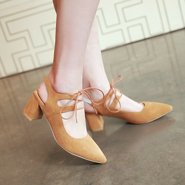 Women Summer Pointed Toe shoes High Heel Strap Chunky Block Suede Sandals Size38