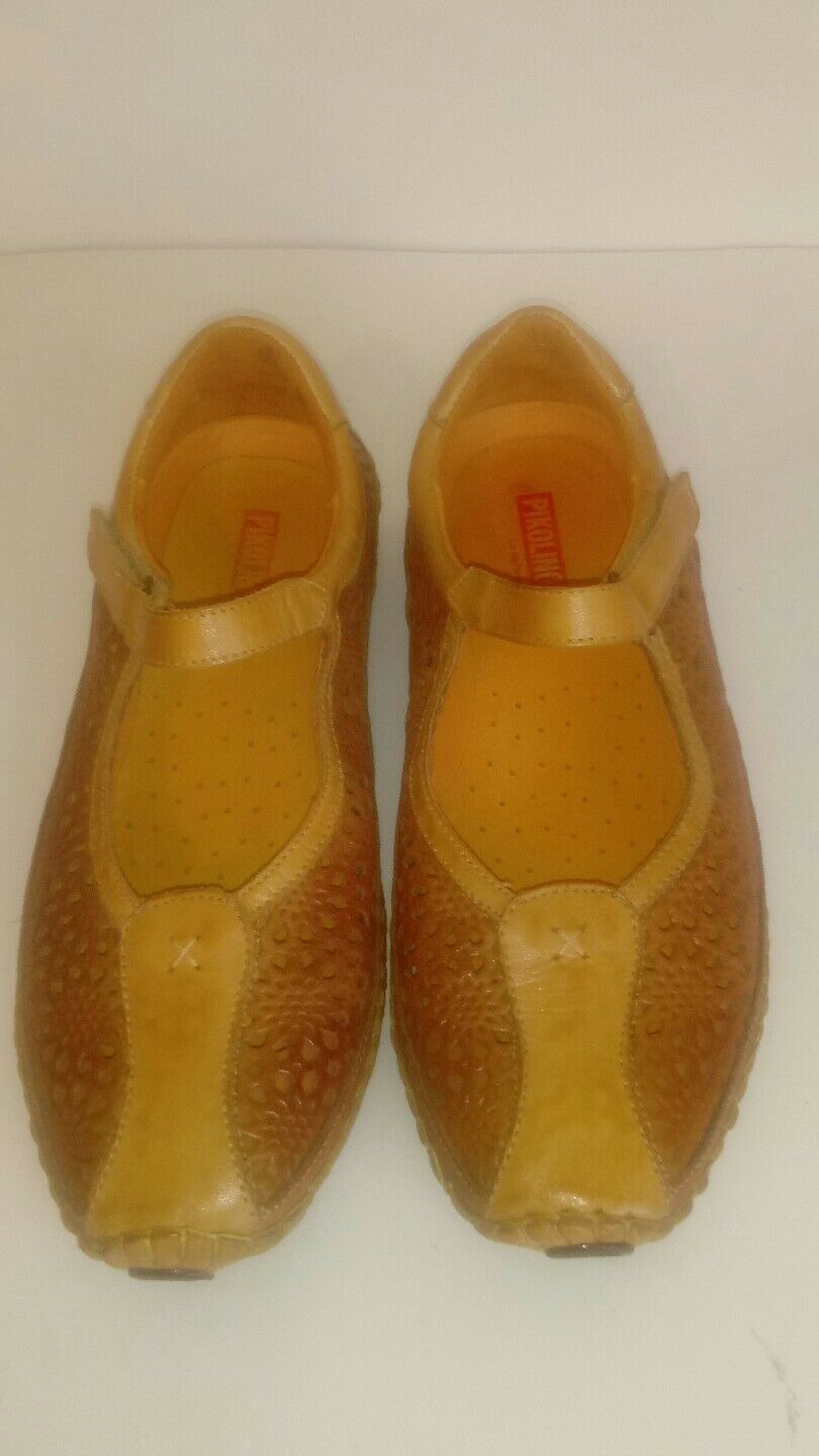 Pikolinos femmes 37 tan leather perforated cutout cutout cutout mary jane chaussures EUC 9957b9