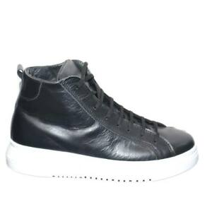 SNEAKERS-UOMO-ALTA-IN-VERA-PELLE-VITELLO-NERO-IMPERMEABILE-FONDO-ARMY-BIANCO-MAD