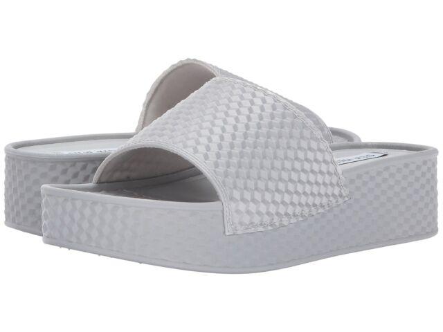 ccaa4d13dfdc Steve Madden Womens Sharpie Silver Slide Sandals Shoes 10 Medium (b ...