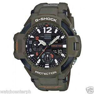 Casio-G-SHOCK-GA1100KH-3A-SKY-COCKPIT-Aviation-Watch-OLIVE-DRAB