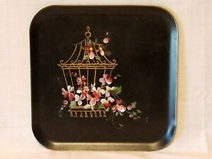 Vintage Decorative Handpainted Flowers  Metal Serving Tray Platter