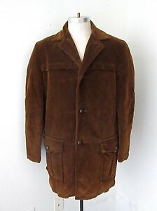 VGC Vtg Rockabilly Dark Brown Corduroy Car Coat Jacket Sherpa