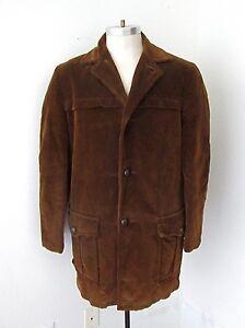 VGC Vtg Rockabilly Dark Brown Corduroy Car Coat Jacket Sherpa