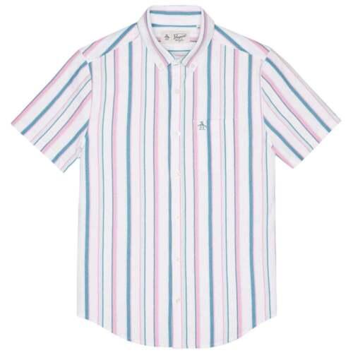 Original Penguin OPKS8047 Jacquard Cotton Rib Shirt S//S Pink Vertical Stripe M