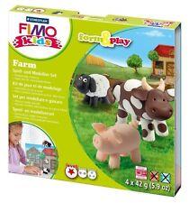 FIMO KIT FOR KIDS form & Play polimero Modellazione Forno Cuocere Argilla-Set fattoria