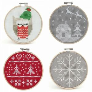 Counted-Cross-Stitch-Kit-with-Hoop-Beginner-Level-Christmas-Owl