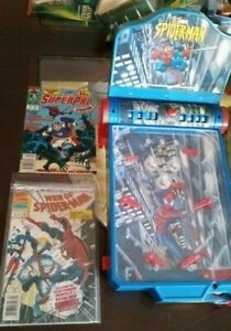 Spiderman tabletop pinball MINT RARE WORKS! FREE SPIDEY TOY UNOPENED & 2 COMICS