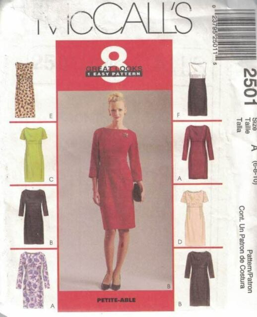 McCall's 2501 8 Great Looks Misses Dress Bateau Neck Empire Waist Size 6-10