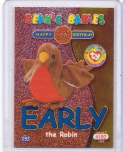 Ty S2 Beanie Card BIRTHDAY EARLY THE ROBIN BLUE INSERT