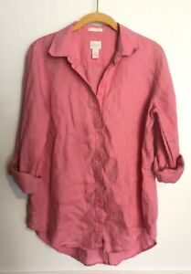 Chicos-No-Iron-Womens-Button-Down-Shirt-100-Linen-Roll-Tab-Sleeve-Pink-Size-0-S