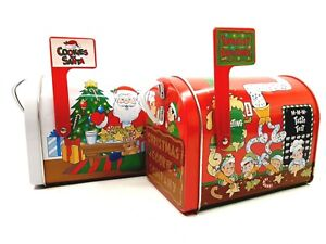 Pair of Christmas Holiday Mailbox Tins Feat. Santa & Elves w/ Working Flags