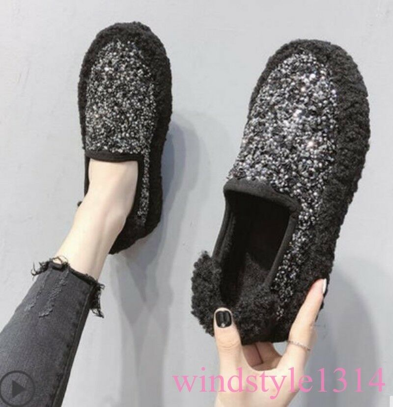 Women's Spring Flat Heel shoes Pull On Loafer Korean All-match Glitter Sequins