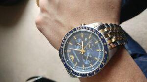 NEW-AUTHENTIC-EMPORIO-ARMANI-AR6088-TAZIO-2-TONE-NAVY-BLUE-DIAL-MEN-039-S-WATCH