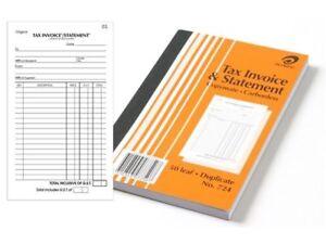5 x Olympic #724 Tax Invoice & Statement Book Duplicate 200x125mm 50Lf 140870
