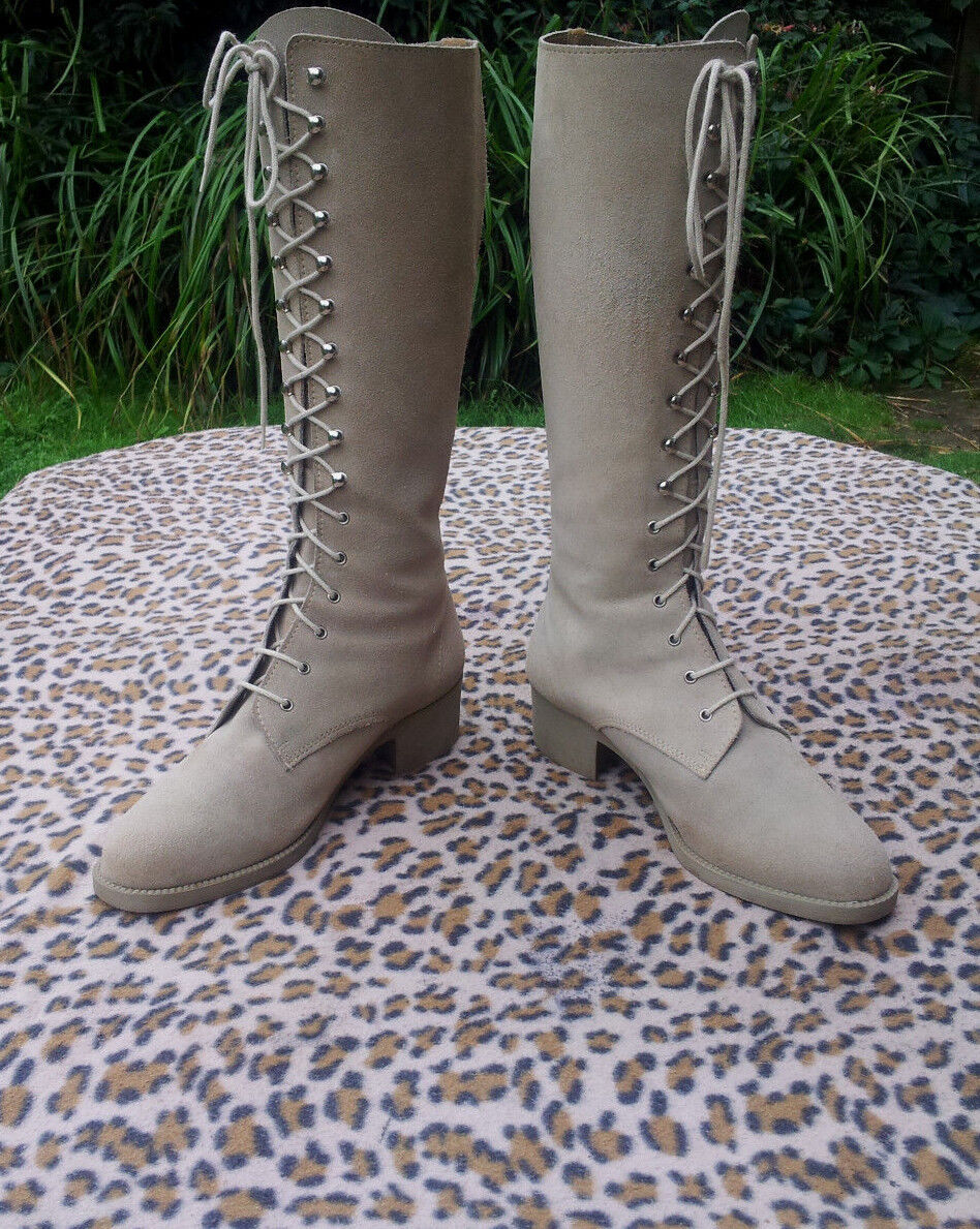 Vintage lace up suede Stiefel Größe UK 7 EU 40