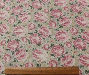 """Vintage Big All Over Pink Roses Cotton Lawn Fabric c1920-1930s~ L-18"""" X W-19"""""""