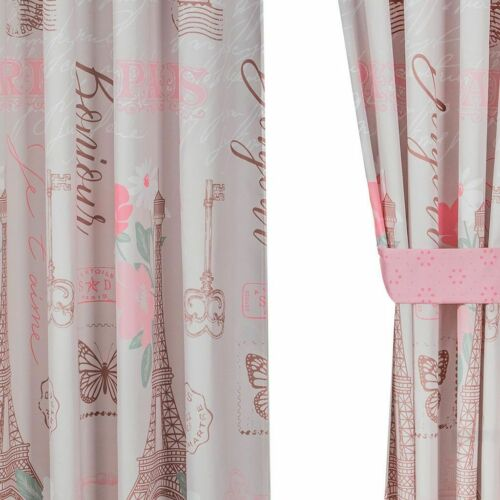 City of Lights 4 Piece Paris Pink Bedroom Curtains by Intima Hogar