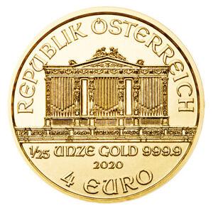 Goldmünze Wiener Philharmoniker 2020 ?sterreich 1/25 oz in Stempelglanz