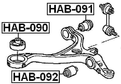 Arm Bushing Front Lower Arm Febest HAB-090 Oem 51391-SEA-004