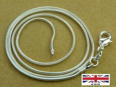 """Width 1.2mm 24/"""" Silver Plated Snake Chain with Lobster Clasp"""