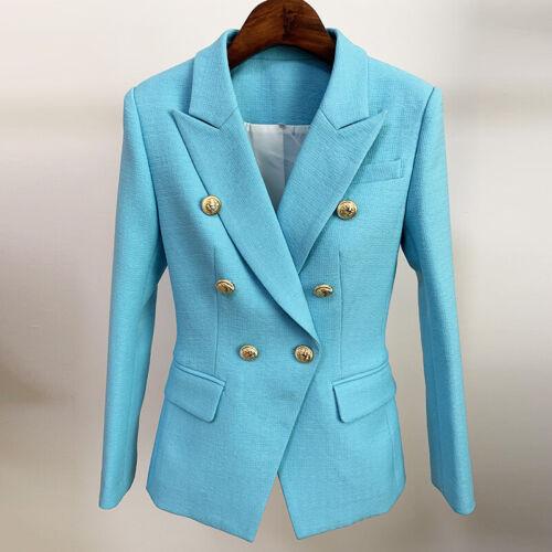 Neu Damen Luxus Designer Inspiriert Blau Angepasst Blazer Blau Knöpfe Mantel