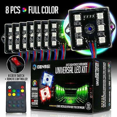 8pc LED Rock Lights Under Body LED Lighting RGB RF Remote Control
