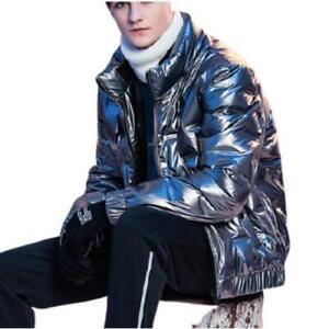 British Men Short 80% Duck Down Puffer Jackets Stand Collar Warm Outwear Youth L