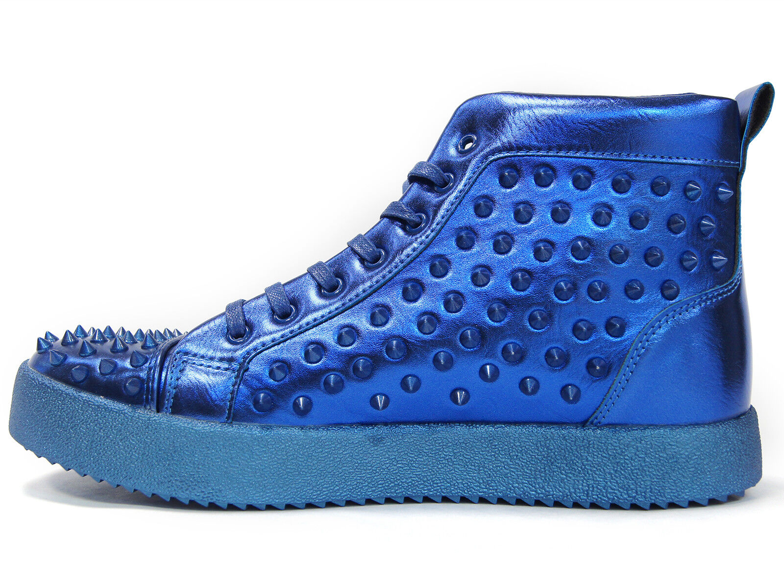 Fiesso Mens Blau PU Leather Leather Leather Studded Lace Up High Top Turnschuhe schuhe 1e5067