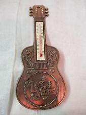 Vintage Hong Kong copper finish metal Thermometer Souvenir Guitar Las Vegas