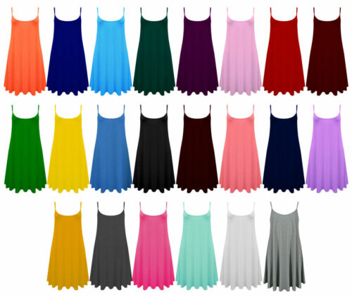 New Womens Plain Stretch Long Strap Cami Camisole Vest Tank Top Plus Size*CmiL