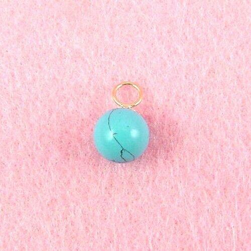 10 mm turquoise boule pendentif 14K or Jaune GP261