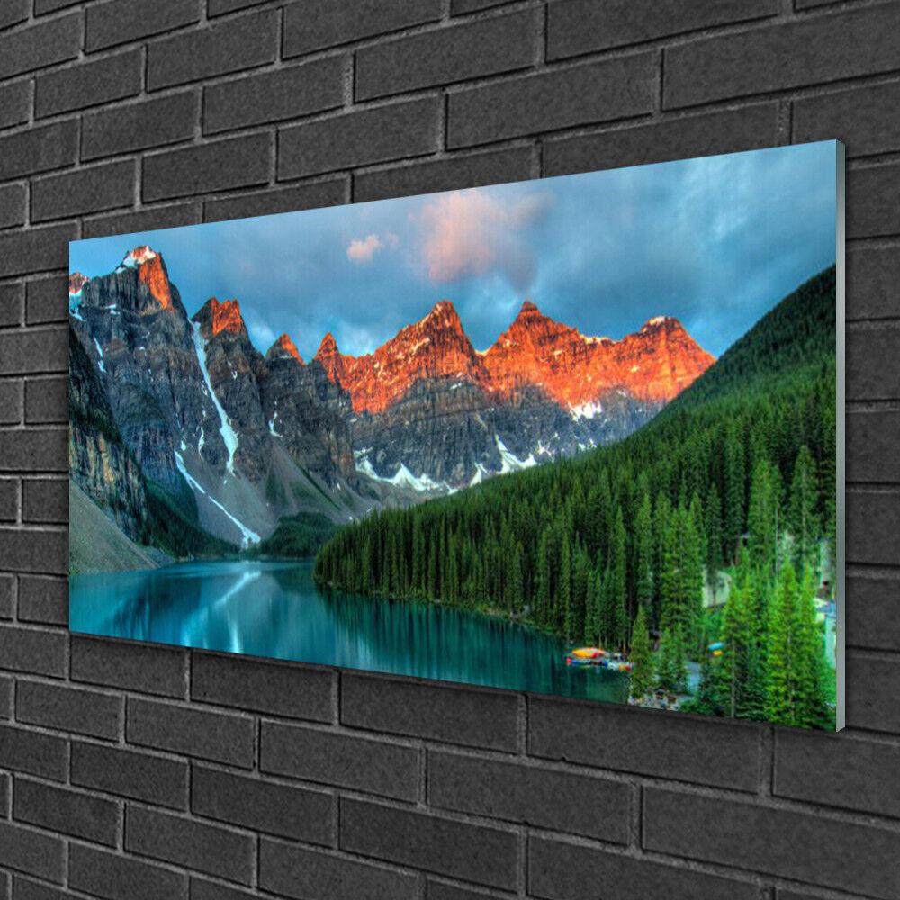 Image sur verre Tableau Impression 100x50 Paysage Montagnes Forêt Lac