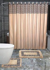 Leopard 15 Piece Bathroom Accessories Set Rugs Shower Curtain Bath