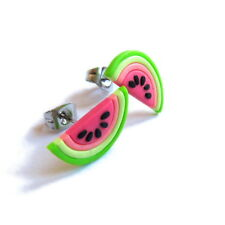 Funny Girls Gifts Neon Pink Watermelon Fruit Pop Art Small Stud Earrings Jewelry