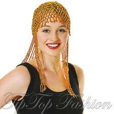 Egiziano Oro Perline Copricapo Parrucchino CAPPELLO 20V Cleopatra Costume Accessorio