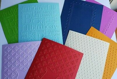 "8 Colours 4 x 6/"" Embossed Cardstock Birthday 8 Pieces 4 Designs 10 x 15cm"
