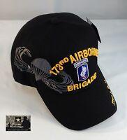 Us Army 173rd Airborne Brigade Ball Cap Vietnam Oef Oif Vet Paratrooper Hat Blk