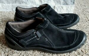 Clarks-Privo-Black-Slip-On-Suede-Leather-Shoes-Loafer-Comfort-Womens-10-Athletic