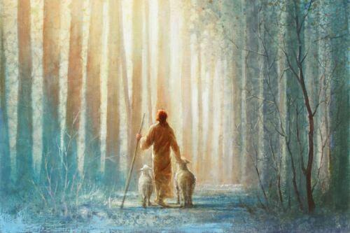 Yongsung Kim HE LEADETH ME 12x18 Canvas Giclee Art Print Jesus with Sheep